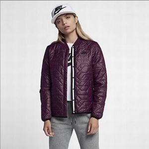 Nike Quilted Lightweight  Bomber Jacket Bordeaux
